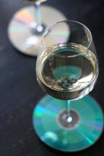 reconnaître son verre grâce à marque-verre fait d'un vieux CD