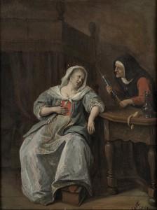 tableau Jan Steen la femme malade