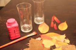 photophore feuilles d'arbre DIY