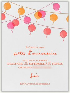 invitation anniversaire rose et orange