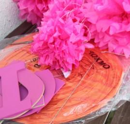matériel déco anniversaire rose et orange