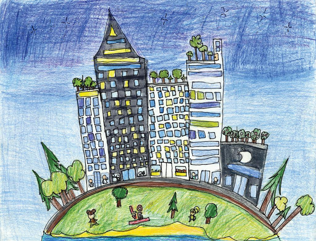 dessin d'enfant ville et campagne
