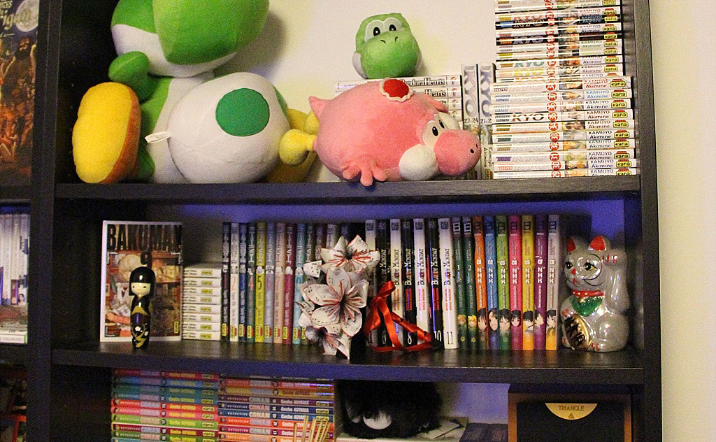 coin lecture geek - peluches Yoshi et mangas