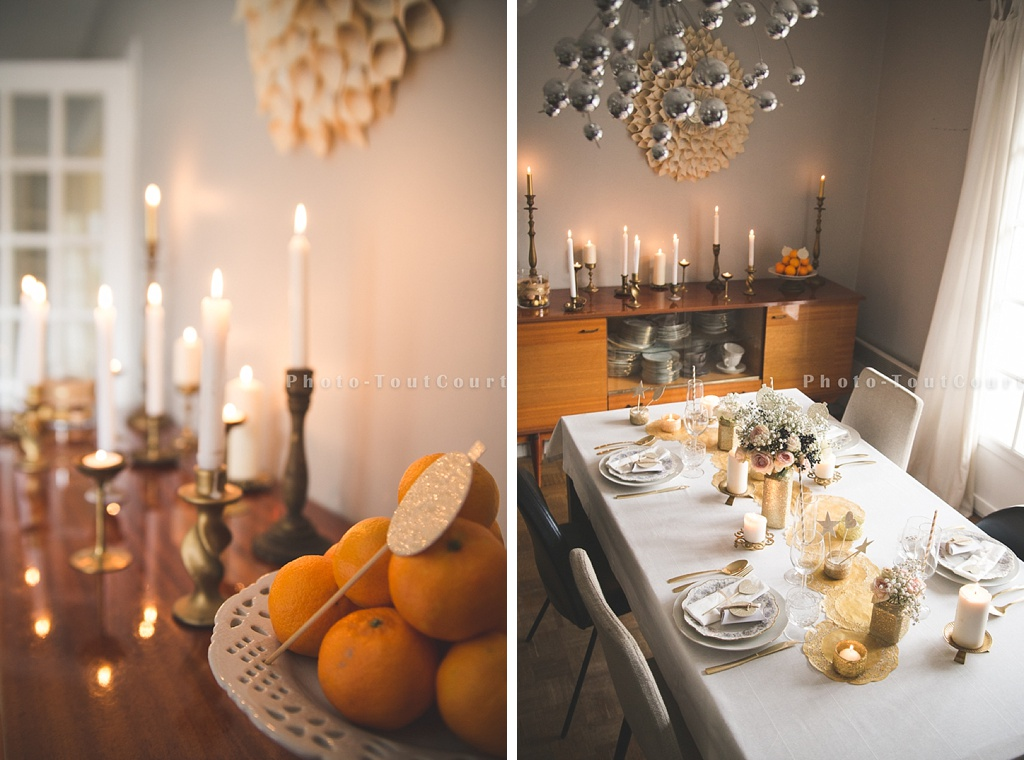 Une d co de table de no l blanc et or vintage sous notre for Decoration de toit