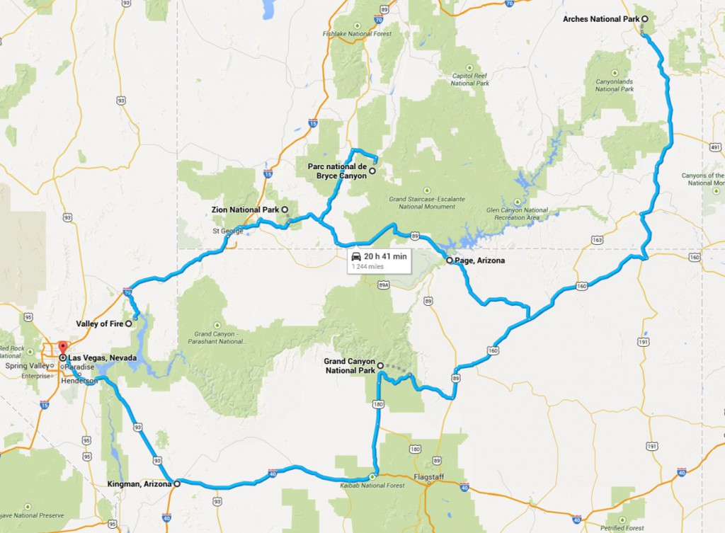 circuit road trip aux USA