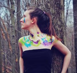 femme forêt peinture